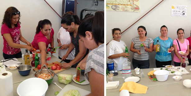 Moms making cabbage salad! Photos by Ashley Sparks.