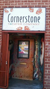 The front door of Cornerstone Theater Company located at 708 Traction Ave in Downtown Los Angeles